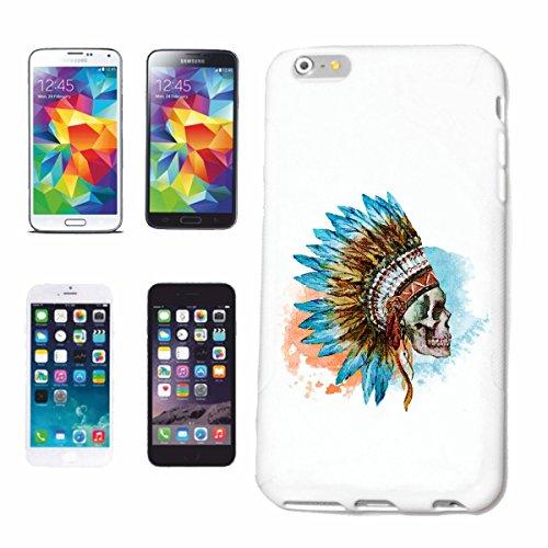 """cas de téléphone iPhone 7S """"Red Chief VINTAGE CRÂNE AVEC INDIAN HEADGEAR INDIAN WESTERN INDIENS"""" Hard Case Cover Téléphone Covers Smart Cover pour Apple iPhone en blanc"""
