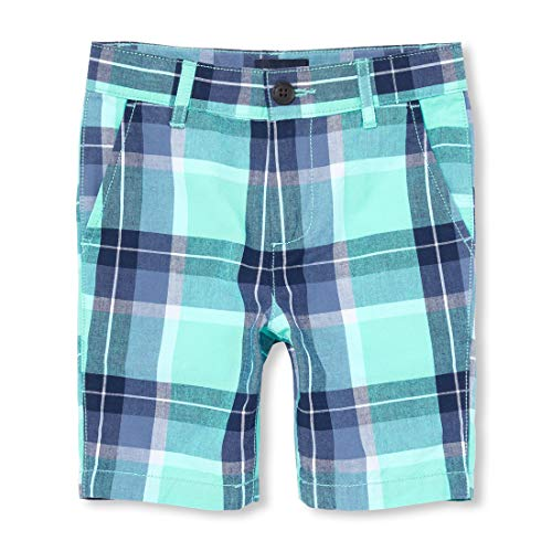 The Children's Place Baby Boys Plaid Shorts, Mellow Aqua, -