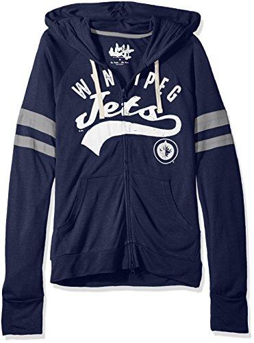 NHL Winnipeg Jets Women's Rundown Full Zip Hoodie, Large, Navy