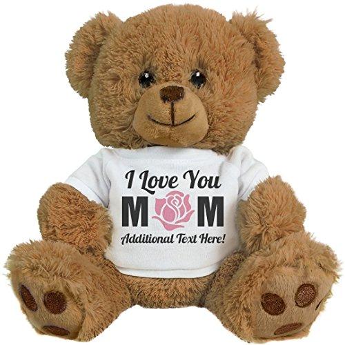 Custom I Love You Mom Gifts: 8 Inch Teddy Bear Stuffed - Bear Mama Teddy