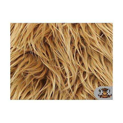 Faux / Fake Long Pile Fur Mongolian DARK CAMEL Fabric / 1 YARD (Faux Fur Pile)