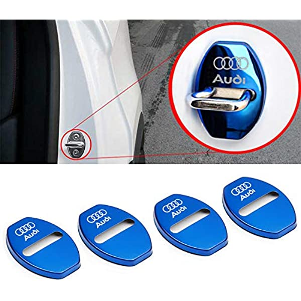 LIGHTKOREA Stainless Steel Metal Car Door Striker Lock Latches Protector Cover Dress up Accessories Silver Pack of 4 Compatible with Kia Vehicles Compatible with Hyundai