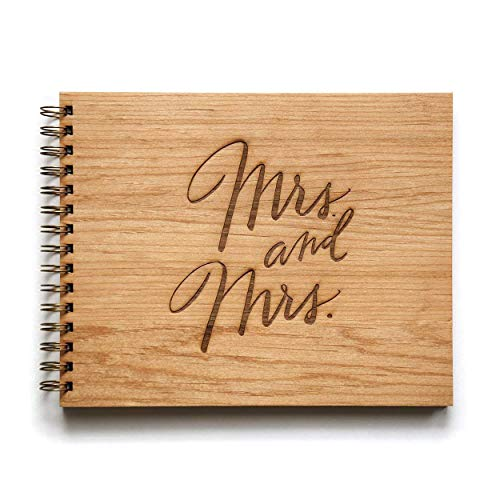 Mrs. & Mrs. Laser Cut Wood Wedding Guestbook (Handmade/Wedding Album)