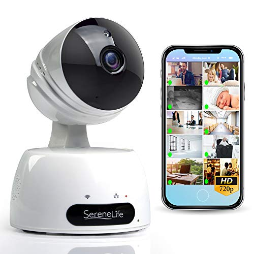 SereneLife Indoor Wireless IP Camera - HD 720p Network Security Surveillance Home Monitoring w/ Motion Detection, Night Vision, PTZ, 2 Way Audio, iPhone Android Mobile App - PC WiFi Access - IPCAMHD30 ()
