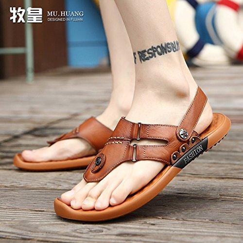 da cuoio uomo Xing infradito scarpe estate e casual pelle uomo sandali in giovane uomo marrone da LIN sandali nafwxqFXa