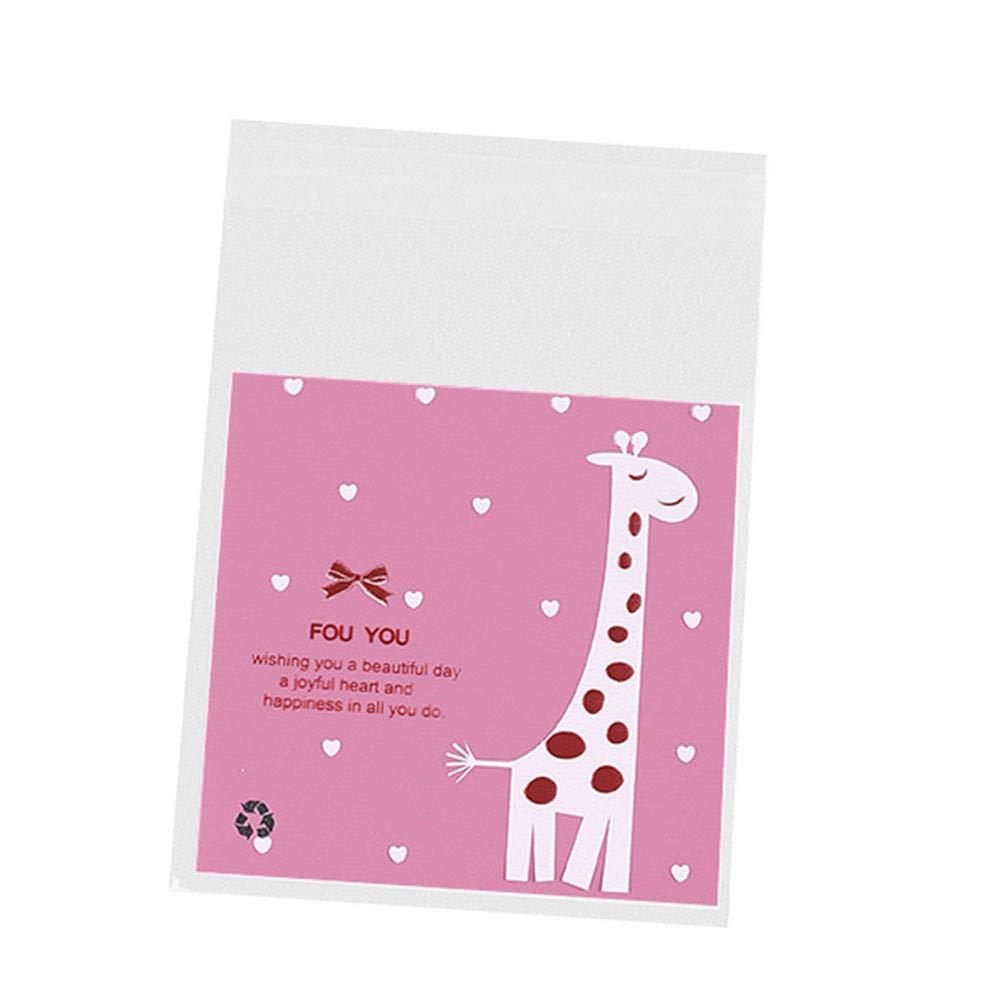Jingyuu 100/pezzi autoadesivo regalo cellophane sacchetti per caramelle//biscotti//arachidi//biscotti//piccoli oggetti 7 x 7cm+3cm Green