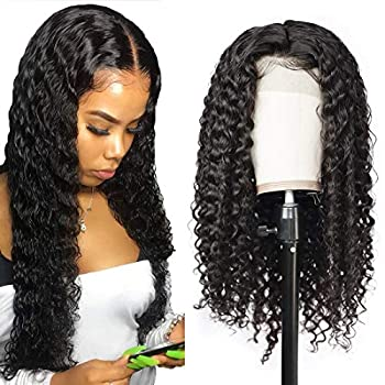 Image of Health and Household Allove Hair Brazlian Deep Wave Lace Front Wig Human Hair With Baby Hair Pre Plucked 13x4 150% Density 10A Wet and Wavy Wig Glueless Unprocessed Remy Human Hair Wigs For Women Natural Color (20inch)