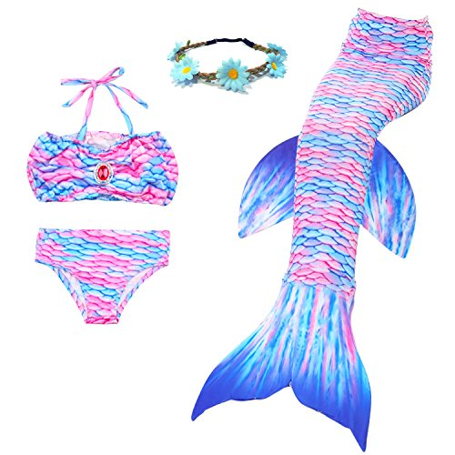 2019 3 Pcs Mermaid Costume for Girls Bathing Swimsuit Swimwear Princess Sea-Maid Bikini Set (Youth Large (fits Like 7-8), A Beautiful Colors)]()