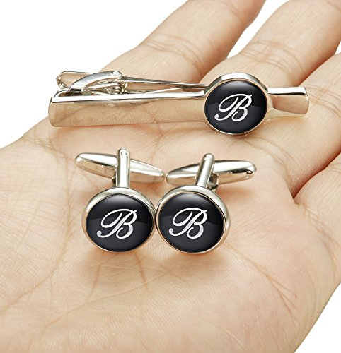 Jstyle Tie Clip and Cufflink Set For Mens Tie Bar Clips Cufflinks Shirt Wedding Business With Gift Box,Alphabet A-Z (Alphabet B) by Jstyle (Image #4)