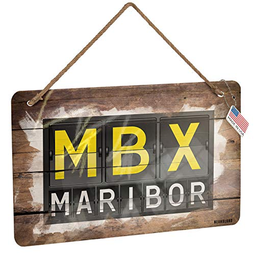 NEONBLOND Metal Sign MBX Airport Code for Maribor Christmas Wood Print