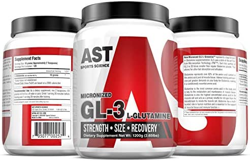 Pure Micronized Glutamine GL3 Glutamine 1200 Grams 120 Servings. for Muscle Recovery, Increased Strength and Lean Muscle