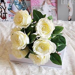 Highpot 7Heads Artificial Fake Silk Roses Flower Bridal Bouquet for Home Garden Party Wedding Decoration (F) 44