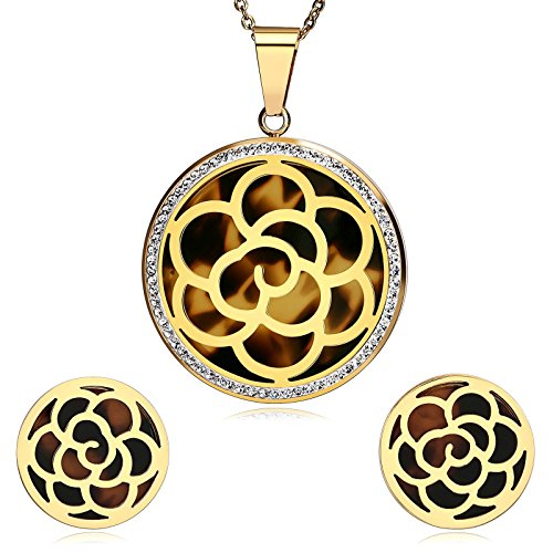 AMDXD Women Stainless Steel Earring and Necklace Set Flower Shiny Crystal Gold Brown (Antique Gold Shiny Ball)