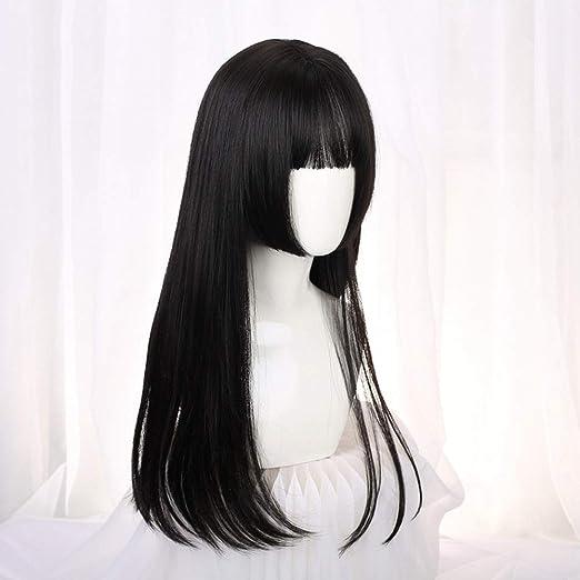 Skjfdmiy Mujeres Peluca negra Con el pelo largo y recto Hime Corte ...
