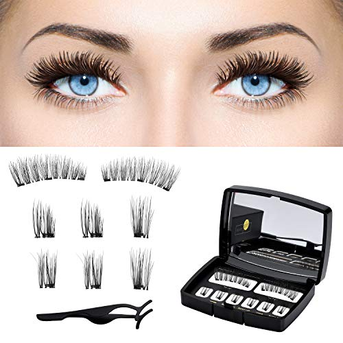 dd4ca9f5fd8 Magnetic Eyelashes 3D False Eyelashes Full Eye Magnetic Fake Lashes with  Mirrow and Tweezers for Natural
