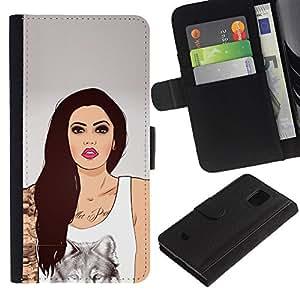 Billetera de Cuero Caso Titular de la tarjeta Carcasa Funda para Samsung Galaxy S5 Mini, SM-G800, NOT S5 REGULAR! / Girl Wolf Art Ink Tattoo Woman Pink Lips / STRONG