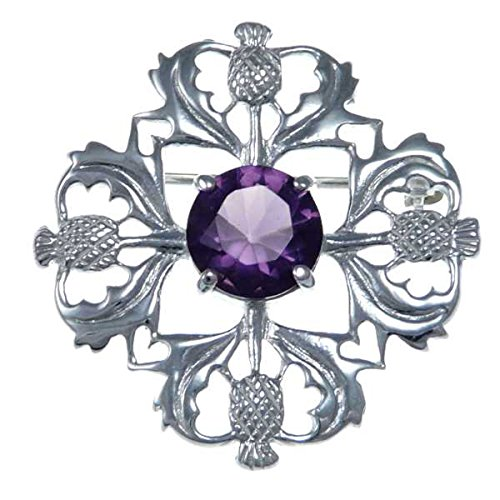 Sterling Silver Purple Stone Thistle Brooch Scottish Pin