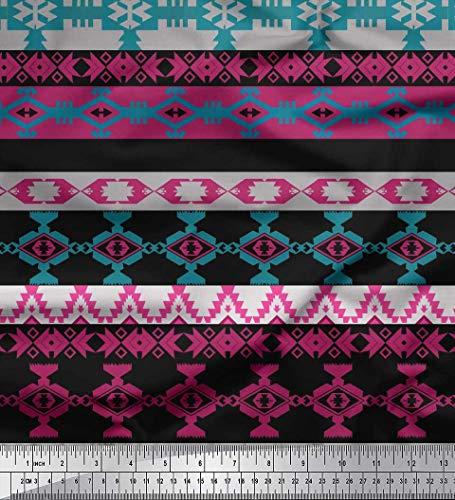Soimoi Black Cotton Duck Fabric Ikat Southwestern Print Fabric by The Yard 42 Inch - Fabric Southwestern Print