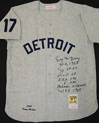 DENNY MCLAIN AUTOGRAPHED DETROIT TIGERS 1968 ROAD JERSEY MULTI INSCRIBED ()