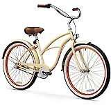 sixthreezero Women's 3-Speed Beach Cruiser Bicycle, Scholar Cream w/Brown Seat/Grips, 26' Wheels/17 Frame
