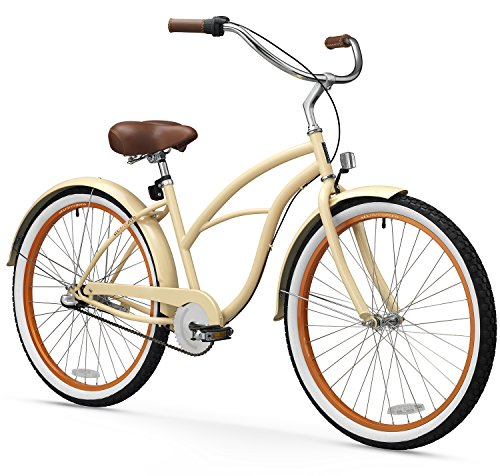 sixthreezero Women's 3-Speed Beach Cruiser Bicycle, Scholar Cream w/Brown Seat/Grips, 26