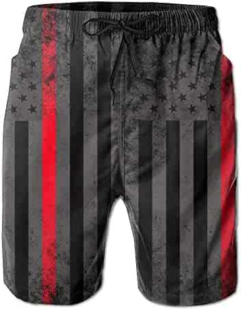 a2299283e7 BANGBIG Men Fire Fighter Thin Red Line Flag Summer Breathable Quick-Drying  Swim Trunks Beach