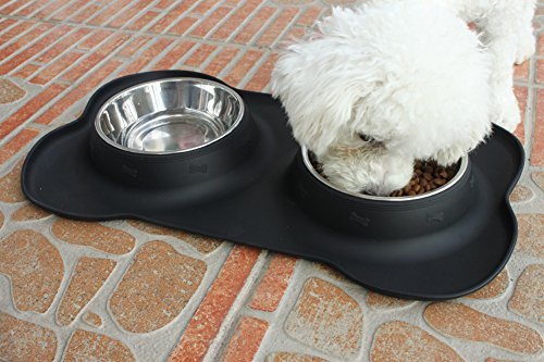 Dog-Bowls-Stainless-Steel-Double-Pet-Bowl-Set-24-oz-Feeder-Bowl-in-Bone-Shape-No-Skid-Silicone-Tray-for-Dogs-and-Cats-by-Delomo-Black