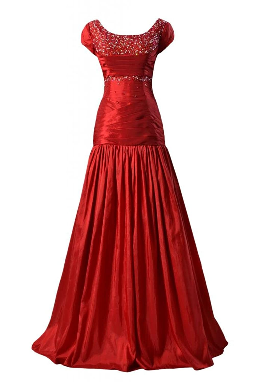 DaisyFormals Modest Prom Dress Long Beaded Party Dress W/Jewel Neckline (PR6127)