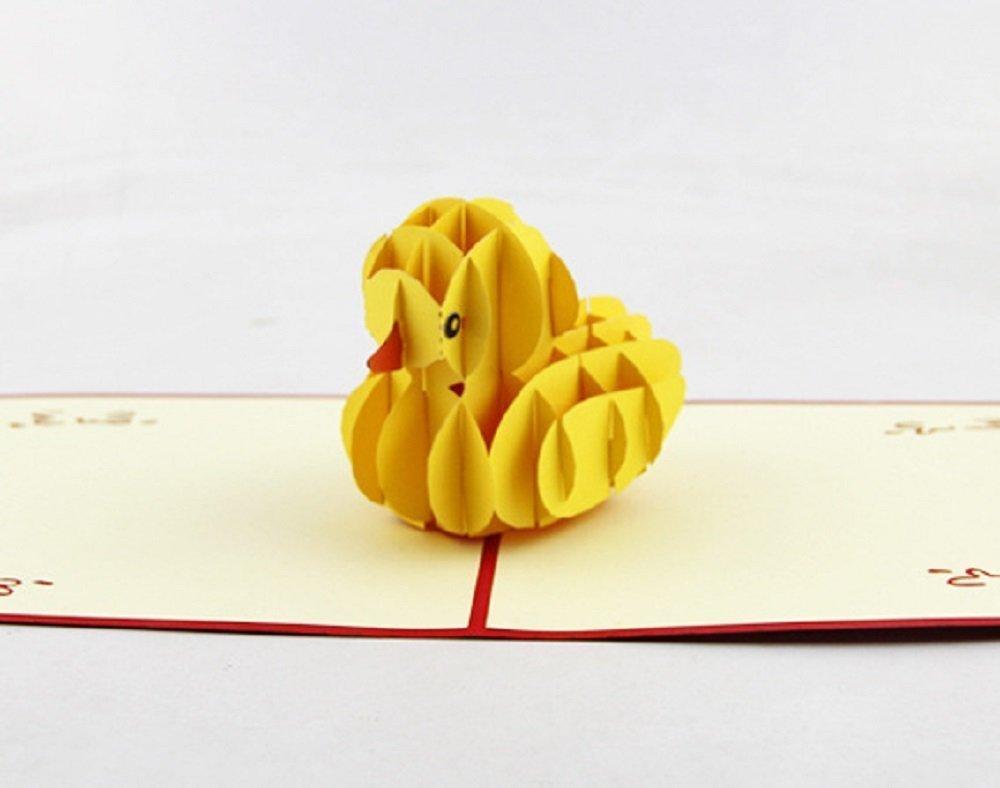BC Worldwide Ltd Hecho a mano 3D emergente popup tarjeta amarillo ...