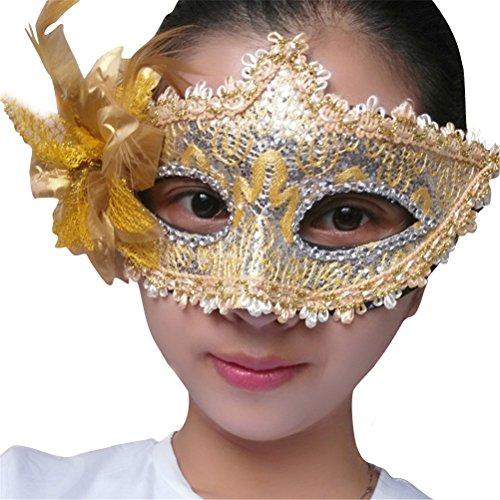 Crystal Mask Venetian Gold White & (Lace Costume Mask for Women Sexy, Halloween Masquerade Elegant Glitter Eye Masks Black White)
