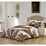 4 Piece Red Geometric Queen Size Duvet Cover Set,Burgundy Southwest Abstract Paisley Geometrical Damask Floral Pattern Bedding Flowers Medallion Sleek Trendy Vintage Contemporary Reversible, Cotton