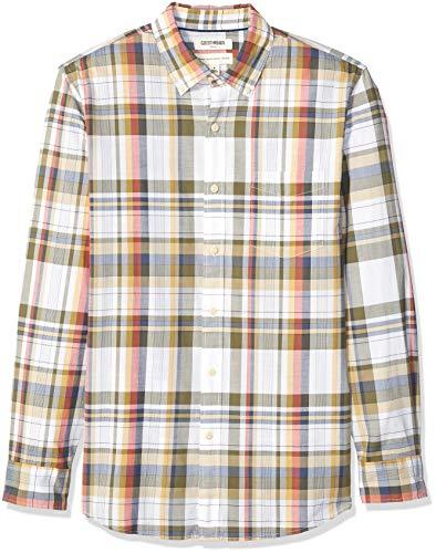 - Goodthreads Men's Standard-Fit Long-Sleeve Lightweight Madras Plaid Shirt, White Olive Plaid, XX-Large Tall