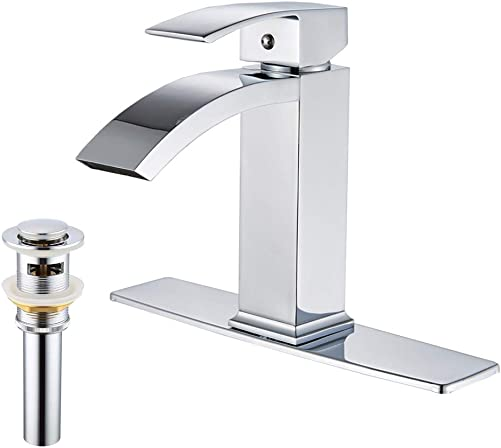 Rozin Chrome Finish Deck Mounted Basin Sink Faucet Bathroom Extra Length Spout Hot Cold Mixer Tap with Cover Plate and Pop Up Drain