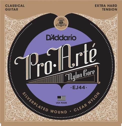 D'Addario EJ44 Pro-Arte Nylon Classical Guitar Strings, Extra Hard Tension (Strings Guitar Silver Daddario)