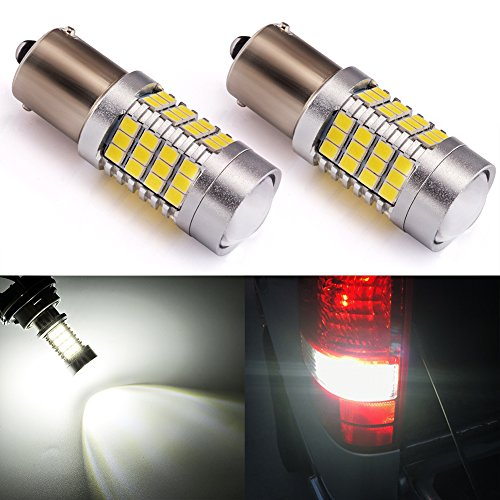 ENDPAGE 1156 1141 1003 7506 BA15S LED Bulb 2-pack, Xenon White 6000K, Extremely Bright, 54-SMD with Projector Lens, 10-30V, Work as Back Up Reverse Lights, Brake Tail Lights, Turn Signal Blinkers