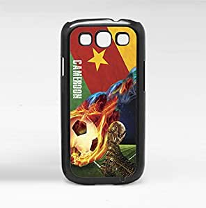 Green, Red, and Yellow Cameroon Soccer Flag Fan Art with Fiery Soccer Ball Hard Snap on Phone Case (Galaxy s3 III)