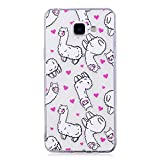 Samsung Galaxy A5 2016 Case, Edaroo Cute Funny Cartoon Animals Flowers Pattern Ultra Slim Thin Gel Rubber Transparent Clear Case with Colorful Printed Design Silicone Tpu Protective Back Case Cover for Samsung Galaxy A5 2016 Version - White Baby Alpaca