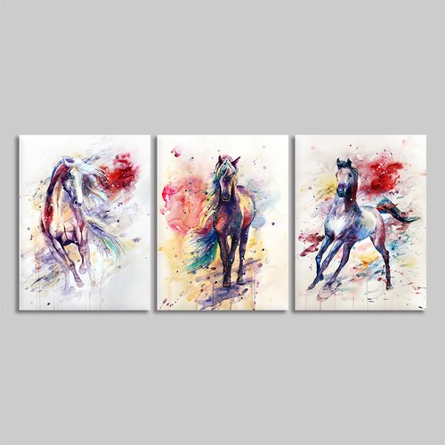 BYXART Colorful Horse Pictures Framed Wall Art Decorations for Living Room Bedroom Walls 3 Pieces Panels Prints Poster Frame Animal Canvas Painting Home Decor Ready to Hang (Multi, 12x16inx3)