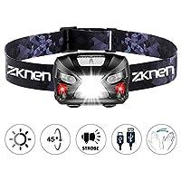zknen Stirnlampe LED, USB Wiederaufladbare Mini Stirnlampe Kopflampe Wasserdicht Leichtgewichts für Laufen Jogging ,Lila