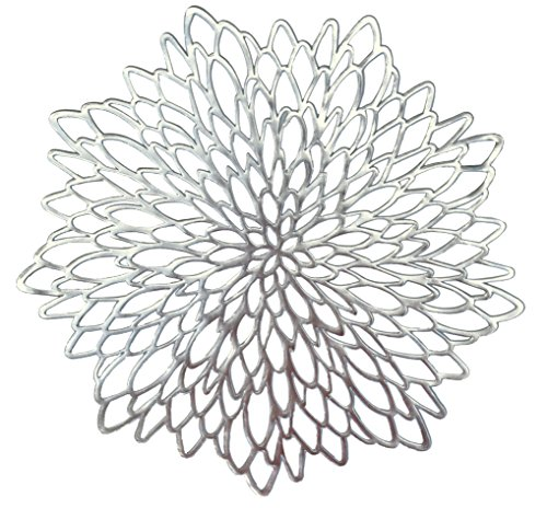 Occasions 10 Pack Pressed Vinyl Metallic Placemats/Charger/Wedding Accent Centerpiece (10 pcs, Round Silver Leaf) for $<!--$25.90-->