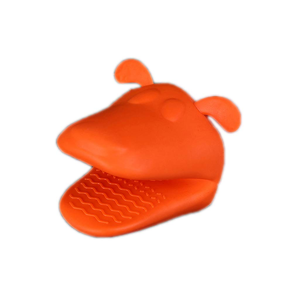 qsbai Cute Dog Heat-Resistant Kitchen Oven Holder BBQ Baking Silicone Mitt Glove Tool