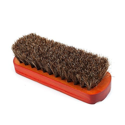 UNKE Professional Horsehair Shoe Brush For Boot Shoes Polish Shine Buffing Brush
