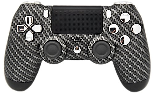 Carbon Fiber & Silver Chrome Modded PS4 Rapid Fire Controller, Works With All Games, COD, Rapid Fire, Dropshot, Akimbo & More ()