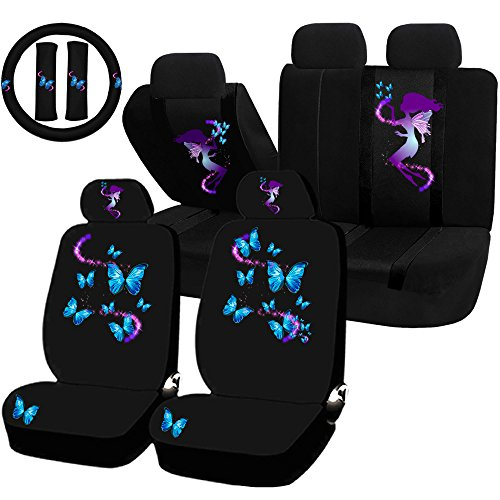 UAA 22pc Fairy Butterfly Mythical Magical Purple Blue Universal Seat Cover Set