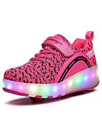 aimoge Roller Shoes Kids Shoes Wheel LED Light Retractable Skateboard Shoes Boys Girls Outdoor Sports Sneakers Lightweight Cross Trainers Sneakers Running Shoes Kids