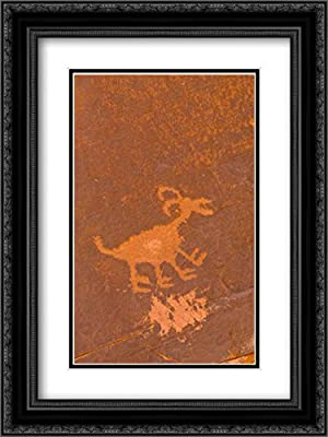 UT, Monument Valley NP Petroglyph Etching 2X Matted 18x24 Black Ornate Framed Art Print by Obrien, Jay