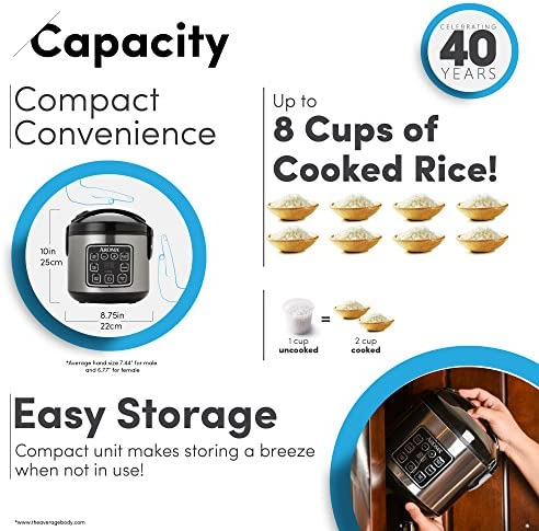 Aroma Housewares 2-8-Cups (Cooked) Digital Cool-Touch Rice Grain Cooker and Food Steamer, Stainless, 8 Cup, Silver 519hPC1 2BRoL