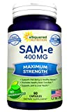 Pure SAM-e 400mg Supplement – 90 Capsules – Same (S-Adenosyl Methionine) to Support Mood, Joint Health, and Brain Function – Extra Strength SAM e Pills
