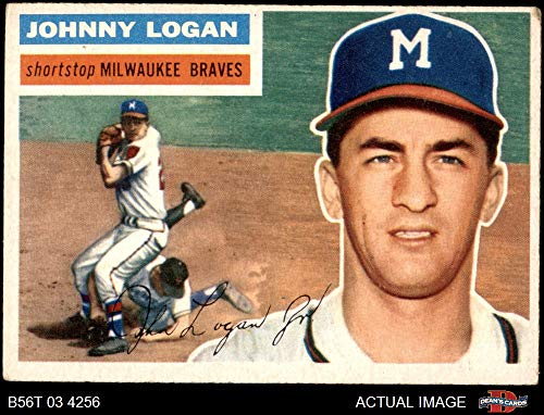 - 1956 Topps # 136 GRY Johnny Logan Milwaukee Braves (Baseball Card) (Grey Back) Dean's Cards 4 - VG/EX Braves