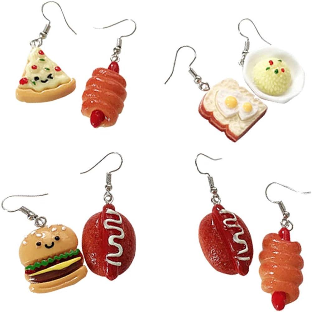 GUOXIAOMEI 4 Pairs Cute Food Imitate Hamburger Bread Pizza Dangle Stud Earrings Resin for Women Girls Jewelry